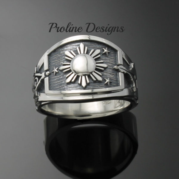 Masonic Philippine Flag Ring for Men in Sterling Silver ~ Cigar Band Style 044