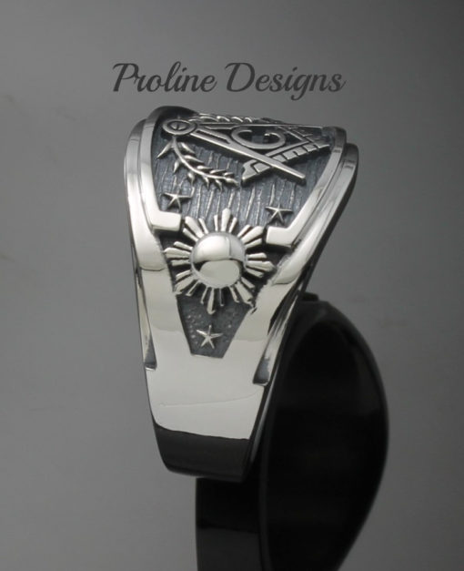 Philippine Flag Masonic Ring in Sterling Silver ~ Cigar Band Style 044a