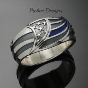 Thin Blue Line Ring in Sterling Silver ~ Style 043