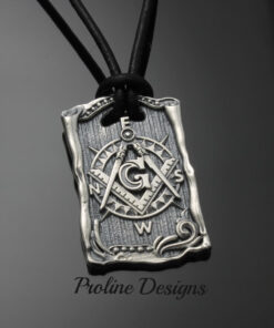 Masonic Blue Lodge Square and Moral Compass Dog Tag - 046b