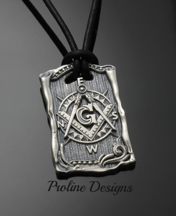 Masonic Blue Lodge Square and Moral Compass Dog Tag – 046b