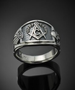 Masonic Ring for Men in Sterling Silver ~ Cigar Band Style 027es