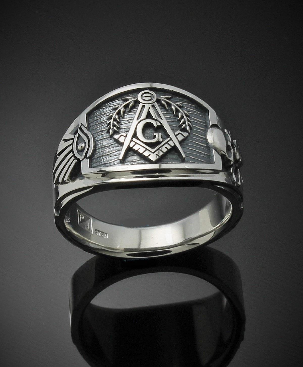 af91c9499 Masonic Ring for Men in Sterling Silver ~ Cigar Band Style 027es - ProLine  Designs