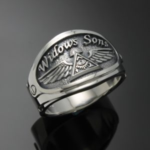 Masonic Ring for Men in Sterling Silver ~ Cigar Band Style 061