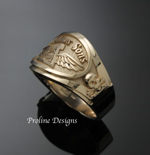 Widows Sons Ring in Gold ~ Cigar Band Style 061g