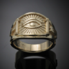 Masonic Seeing Eye Ring in Gold ~ Cigar Band Style 048