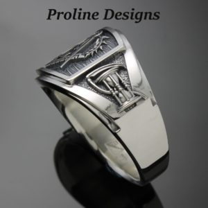 Masonic Hourglass Ring in Sterling Silver ~ Cigar Band Style 049