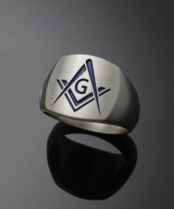 Modern Style Masonic Ring in Sterling Silver ~ Style 006M