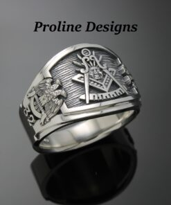 Masonic Past Master Scottish Rite Ring in Sterling Silver ~ Cigar Band Style 029PM
