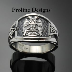Masonic Scottish Rite Ring in Sterling Silver ~ Cigar Band Style 052a