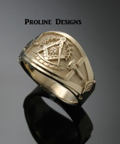 Past Master Ring Cigar Band Style in Gold ~ Handmade ~ style 041pm