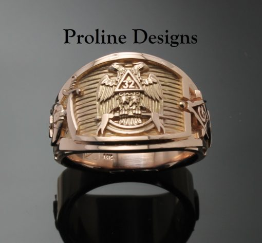 Scottish Rite Shriner Ring Cigar Band Style in Gold ~ Handmade ~ style 052g