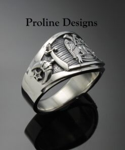 Masonic Scottish Rite Shriner Ring in Sterling Silver ~ Cigar Band Style 052b